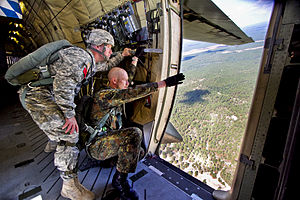 Jumpmaster - Jumpmasters from the U.S. and German Armies during joint training exercises over Fort Bragg (October 2010)