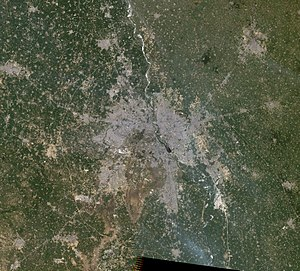 National Capital Region (India) - Image: Delhi metropolitan region, satellite image, Landsat 5, 2011 03 12