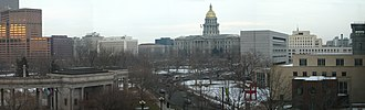 Civic Center, Denver - Civic Center and Colorado State Capitol from the Denver Art Museum.