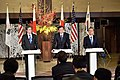 Deputy Secretary Blinken, Japanese Vice Foreign Minister Saiki, and South Korean First Vice Foreign Minister Lim Address Reporters Following Their Bilateral and Trilateral Meetings in Tokyo (24378662892).jpg