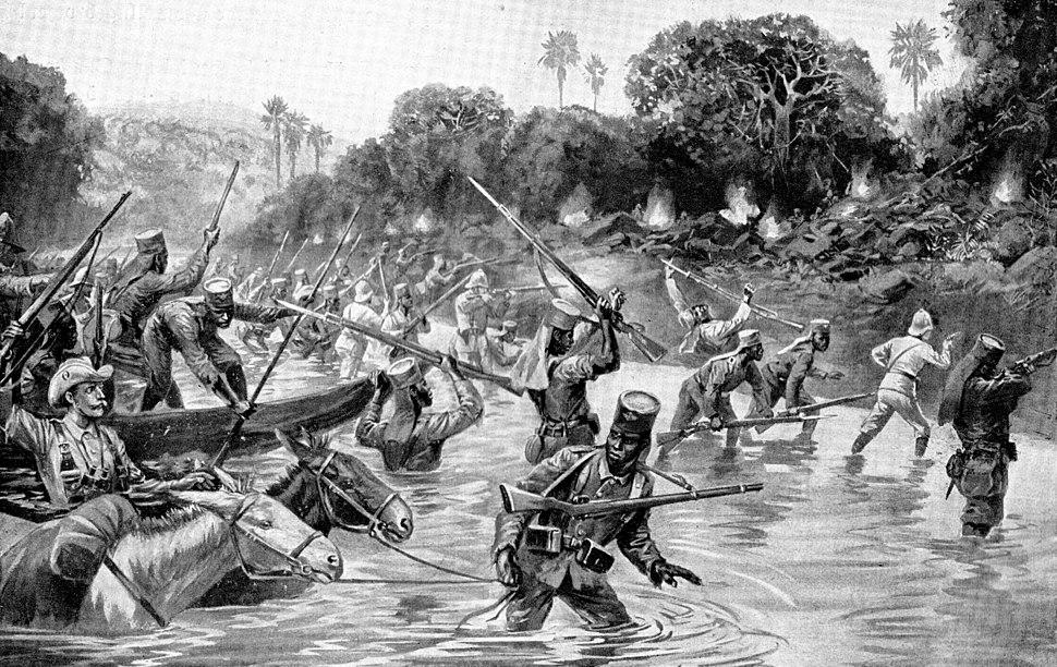 Der Durchbruch der Schutztruppe Deutsch-Ostafrika über den Rowuma MItte November 1917. Darstellung von Carl Arriens