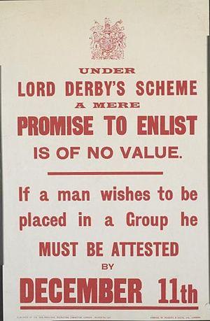 Derby Scheme - Derby Scheme poster of November 1915