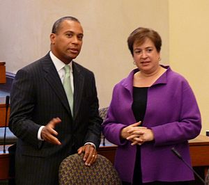 Deval Patrick - Patrick with future Supreme Court associate justice Elena Kagan at the Harvard Law School, in 2008.