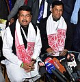 Dharmendra Pradhan addressing a press conference after attending the Advantage Assam- Global Investors Summit 2018, in Guwahati, Assam.jpg