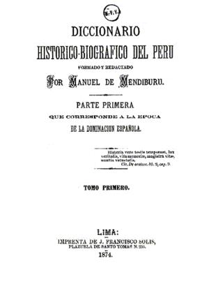 Manuel de Mendiburu - Image: Diccionario