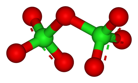 Structure of dichlorine heptoxide, Cl2O7, the most stable of the chlorine oxides Dichlorine-heptoxide-3D-balls.png