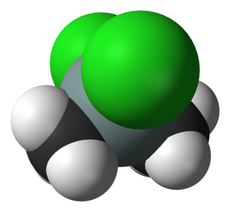Dimethyldichlorosilane - Image: Dichlorodimethylsila ne MW 3D vd W
