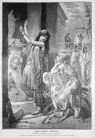 Paganism - Romanticized depiction from 1887 showing two Roman women offering a sacrifice to a pagan goddess.