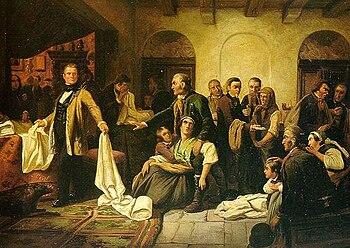 The Silesian Weavers (painting by Carl Wilhelm Huebner, 1846)