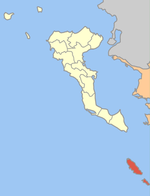 Locator map of Paxi municipality (Δήμος Παξών)...