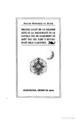 Dolors Monserdà i Vidal: Discurso llegit en la inauguració de la Capella del SS. Sacrament de Sant Pau del Camp y restauració dels claustres
