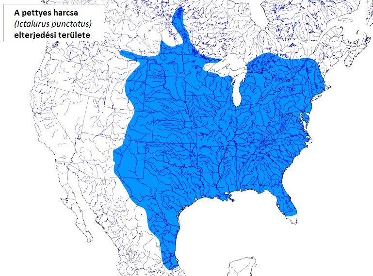 Distribution map of channel catfish