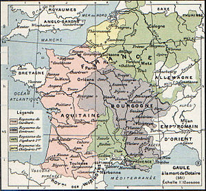 Francia - The division of Gaul on Chlothar I's death (561). Though more geographically unified realms were created out of the second fourfold division of Francia, the complex division of Provence created many problems for the rulers of Burgundy and Austrasia.