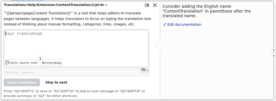 Screenshot showing a message on the Translate extension with documentation.