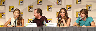 Dollhouse (TV series) - Panel with (left to right) Dichen Lachman, Joss Whedon, Eliza Dushku, and Fran Kranz.