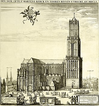 Dom Tower of Utrecht - Dom Church as it looked prior to 1674, with the nave still standing. Etching after Steven van Lamsweerde, 1660.