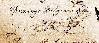 Domingo Belgrano - Image: Domingo Belgrano firma