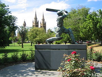 Don Bradman with the Australian cricket team in England in 1948 - A statue depicting Bradman playing his trademark cover drive