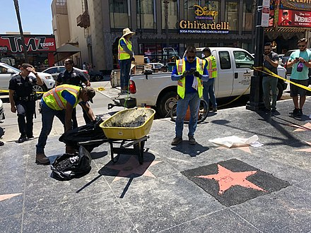 Donald Trump's star was repaired soon after it was destroyed on July 25, 2018. Donald Trump's Hollywood Walk of Fame Star being repaired.jpg