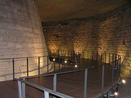 Below-ground portions of the medieval Louvre are still visible. Donjon chateau louvre.JPG