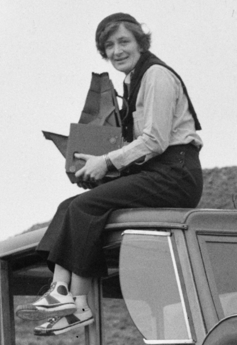 Dorothea Lange atop automobile in California (restored) (cropped).jpg