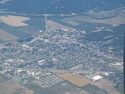 An aerial photograph of Martinsville in June 2006, taken looking northwest.