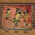 Draupdadi watching Kichaka and Bhima fighting (crop).jpg