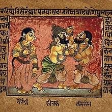 Draupadi je svědkem boje mezi Bhimou a Kichakou