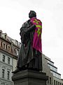 Dresden - Frauenkirche - Martin Luther statue adorned with Kirchentag scarf.jpg