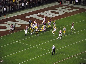 2011 LSU vs. Alabama football game - Drew Alleman after he kicked his 19-yard field goal to tie the game at 3–3.