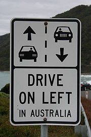 A sign on Australia's Great Ocean Road reminding foreign motorists to keep left.