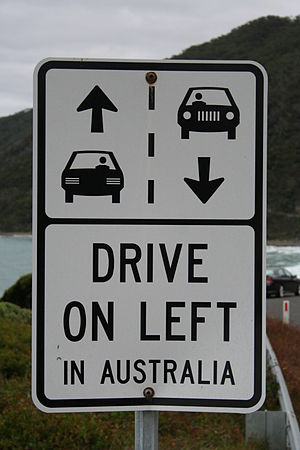Description: A sign on the Great Ocean Road in...