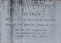 Dyer.Mary.Inscription beneath statue at Massachusetts State House.JPG