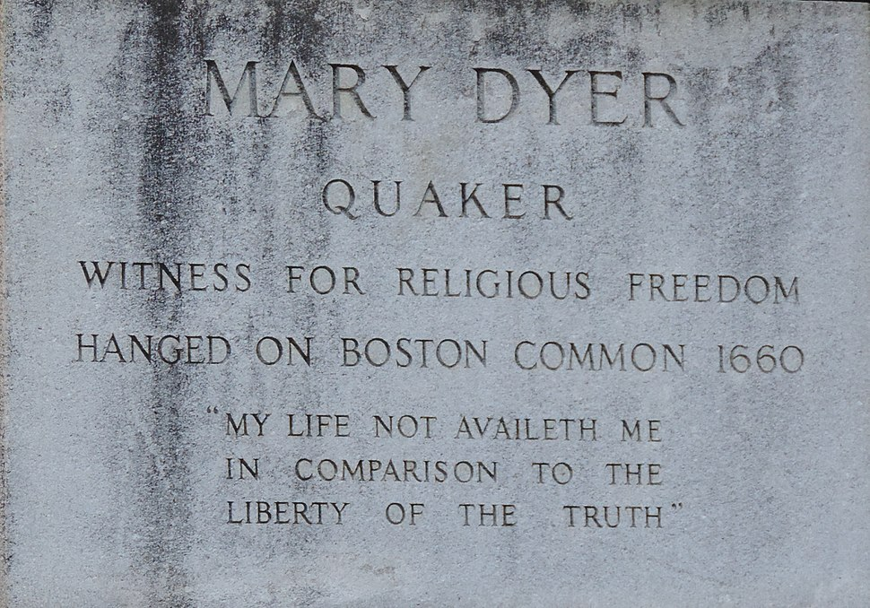 Dyer.Mary.Inscription beneath statue at Massachusetts State House