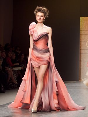 Haute couture - A model wearing a haute couture gown by Georges Chakra in 2010