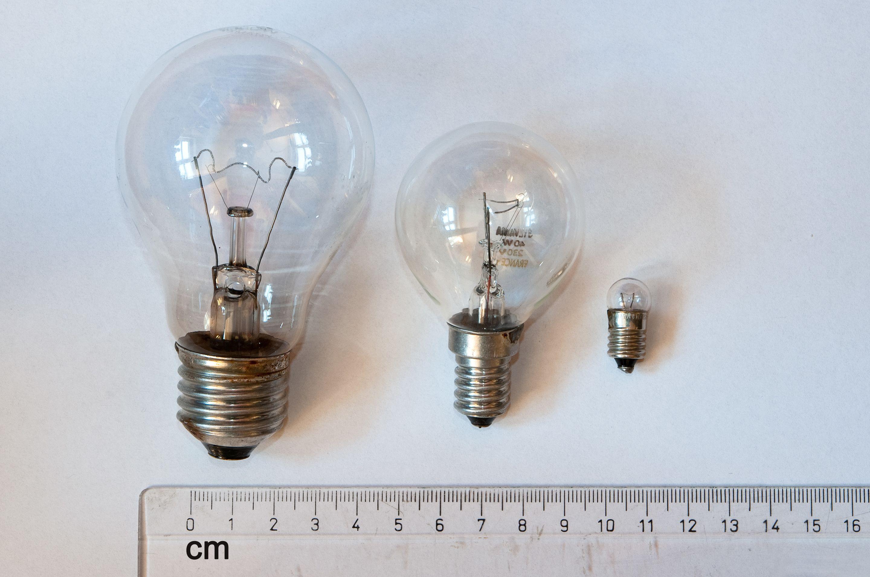 veľkosti žiaroviek e27, e14, a e10