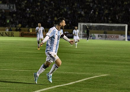 Messi celebrating scoring a hat-trick against Ecuador on 10 October 2017. His goals sent Argentina through to the 2018 FIFA World Cup in Russia. ECUADOR VS ARGENTINA (37594548472).jpg