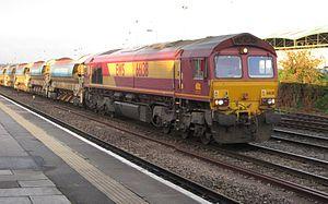 British Rail Class 66 - EWS 66 138 hauling a train of autoballasters