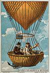 Gay-Lussac ve Biot bir sıcak hava balonuyla yükselirken, 1804. İllüstrasyon 19 yy.'a ait