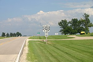Illinois Route 92 - Sign marking the eastern end of IL-92, and of the 4-state Route 92, at US 34 in La Moille IL.