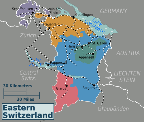 regions and citiesedit map of eastern switzerland