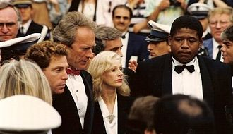 Bird (film) - Clint Eastwood with actors Michael Zelniker and Forest Whitaker, and then-partner Sondra Locke, promoting the film at the 1988 Cannes Film Festival.