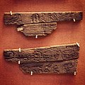 Ebony label with an inscription of King Aha. Early First Dynasty. About 3100 BC. From Abydos, cemetery B, tomb B18, and B19.jpg