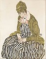 Egon Schiele - Edith with Striped Dress, Sitting - Google Art Project.jpg