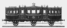 Salonwagen König Georg V. von Hannover aus dem Jahr 1853, entworfen von Eduard J. H. Witte.[2] (Quelle: Wikimedia)
