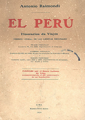 Antonio Raimondi - Cover of El Perú. Itinerarios de Viajes (1929).