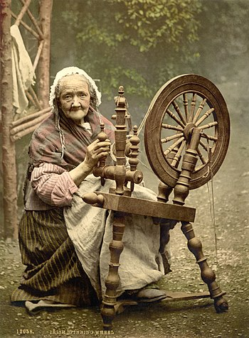 English: Photochrom print of an elderly Irish ...