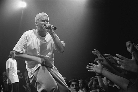 Eminem (pictured in 1999) wrote the majority of The Marshall Mathers LP while in the studio. Eminem-01-mika.jpg