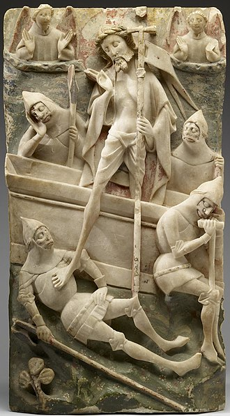 Alabaster - Resurrection of Christ, typical Nottingham alabaster panel from an altarpiece set, 1450–1490, with remains of the paint