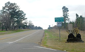 Marion County, Texas - Entering Marion County from Louisiana along State Highway 49